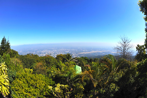 temple city landscape wideangle fisheye blue clear sky chiangmai doisuthep