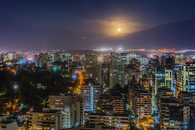 Moonrise over Santiago Chile