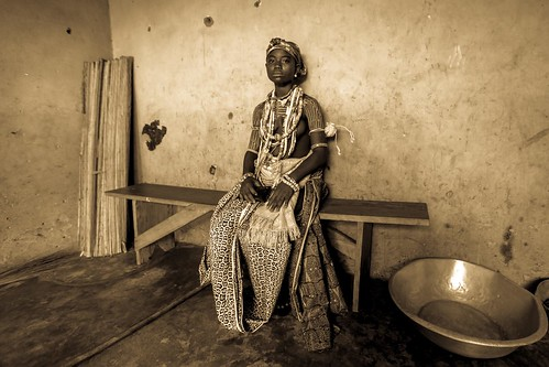 Young girl from the Krobo tribal group wear traditional be