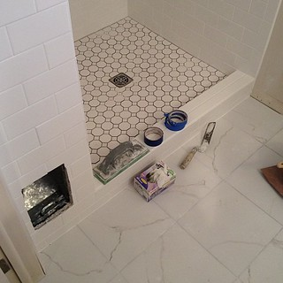 Grout for shower floor tomorrow, I'm guessing. Eeeeeeee!!!! | by Jodimichelle