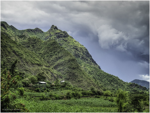 clouds cloudy ethiopia house landscape mountain tree northwello amhara