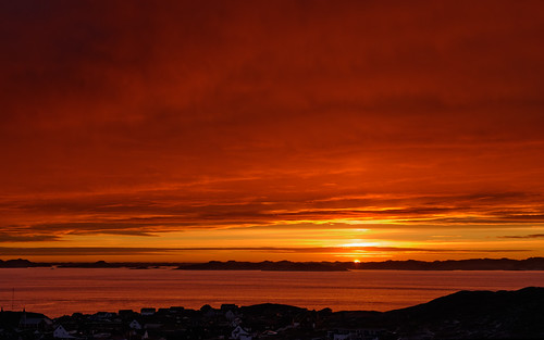 sunset red summer sky evening cloudy greenland nuuk partiallycloudy