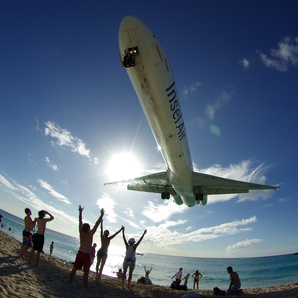 Insel Air's MD-82 approaching over Maho Beach, St. Maarten