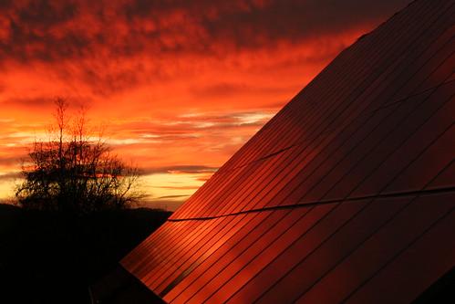 solar sonnenuntergang bauernhof abendrot niedersachsen photovoltaik auetal