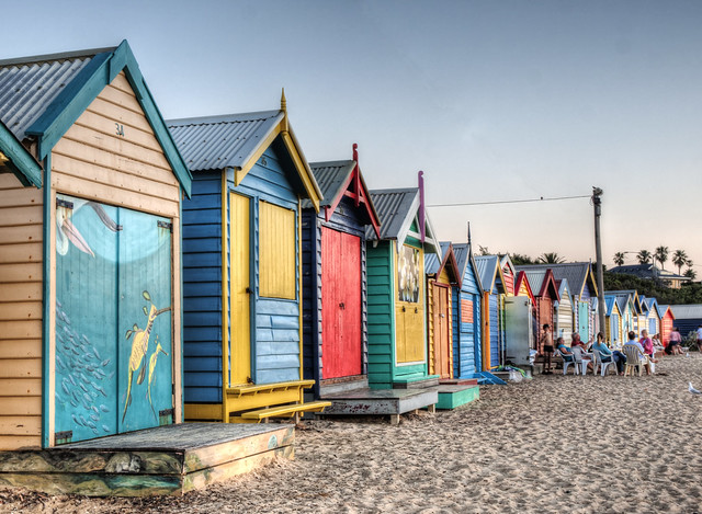Bathing Boxes at Brighton Beach, Victoria, after Sunset