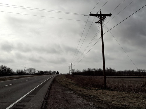 road trees ohio sky color abandoned field lines electric clouds rural highway open power farm empty south utility pole route southern wires desaturated 23 deserted
