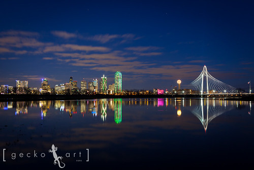 city longexposure bridge reflection water skyline architecture night clouds lights dallas texas flood bankofamerica dfw architects santiagocalatrava reuniontower trinityriver margarethunthill 2013yip