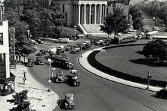 Streetcars rounding Thomas Circle