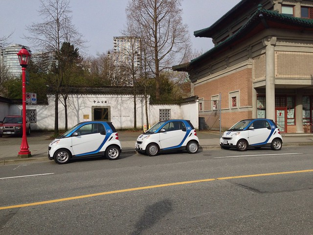3 Car2Go cars in the 2-vehicle spot