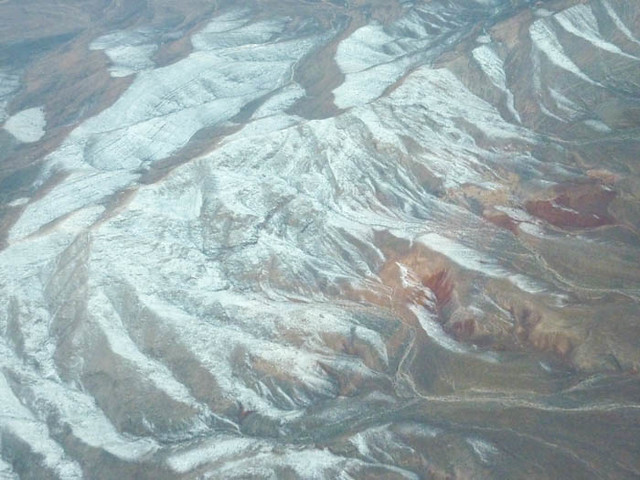 Snow in the mountains very close to Las Vegas