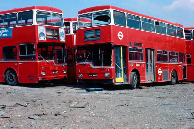 1983-08-05 KJD 233P, OUC 114R Metro-Scania Metropolitans ex MD33, MD114 of London Transport, Booths,  Aston