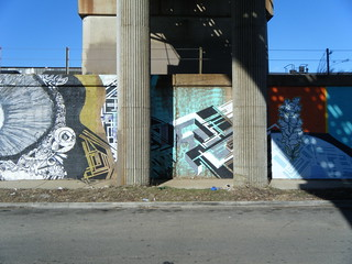 "Murals under the ""L"" bridge 