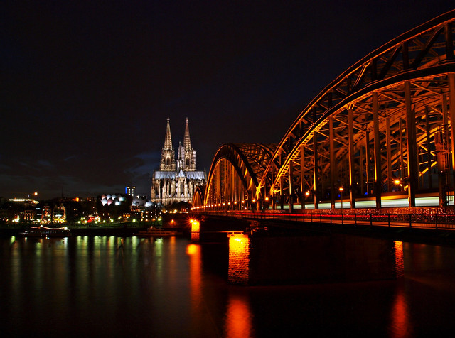 Most fotografed view of Cologne:  The Hohenzollernbridge with the Cologne Cathedral and the Philharmonic