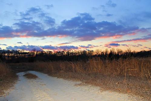 road winter sunset sky sun lake sunrise canon landscape newjersey nj 365 rise challenge burlingtoncounty northhanover 3652013 2013365
