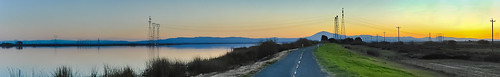 california sunset panorama color reflection northerncalifornia nikon infinity country large panoramic silouette powerlines bayarea february mtdiablo stitched sacramentocounty levee sanjoaquinriver 2013 leveeroad antiochbridge d700