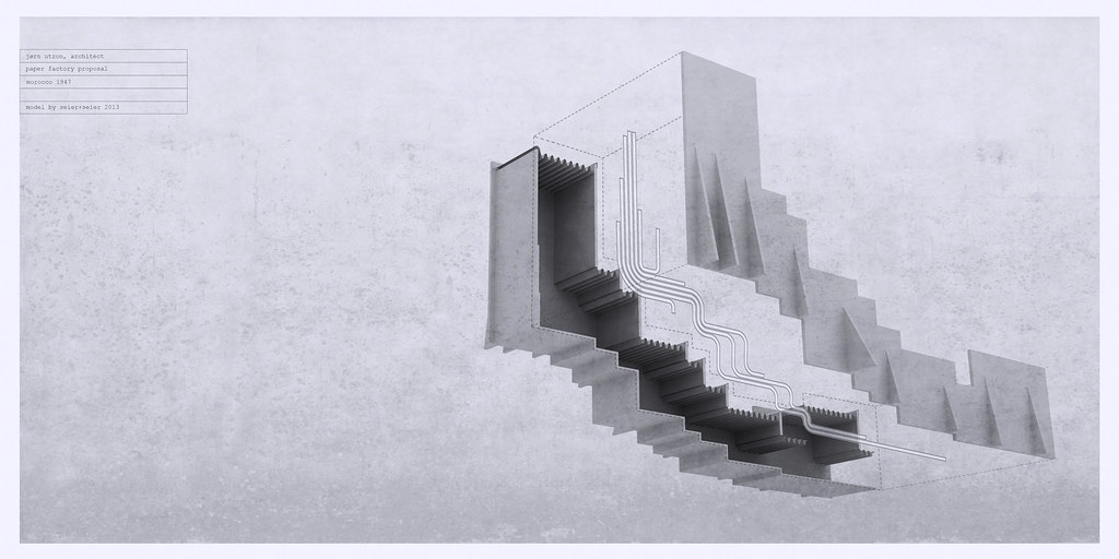 jørn utzon, architect, unbuilt paper factory proposal, morocco 1947