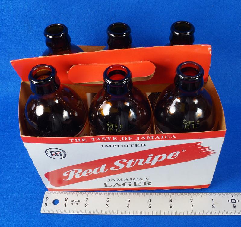 RD14201 6 Red Stripe 12 oz Brown Stubby Beer Bottles in Original 6 Pack Carton DSC05342