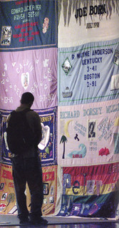 The AIDS Memorial Quilt was shown on the Pomona College campus in 2000, thanks to the Claremont Colleges' Student AIDS Awareness Committee. At the time, the Quilt had 43,000 panels commemorating the lives of 86,000 AIDS victims in the U.S.