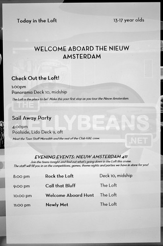 "Holland America Nieuw Amsterdam ""The Loft"" Daily Schedule: 7-Day Eastern Caribbean Mar 30, 2018 