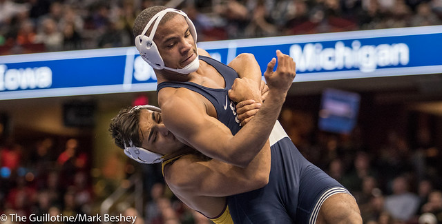 174 1st Place Match - Zahid Valencia (Arizona State) 32-0 won by decision over Mark Hall (Penn State) 32-1 (Dec 8-2) - 180317emk0009