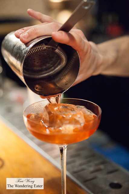 Pouring Cocktail # 7 - LRD Silent Grain, El Jolgorio Wild Espadin, cherry blossom, Dolin bitter, Verjus