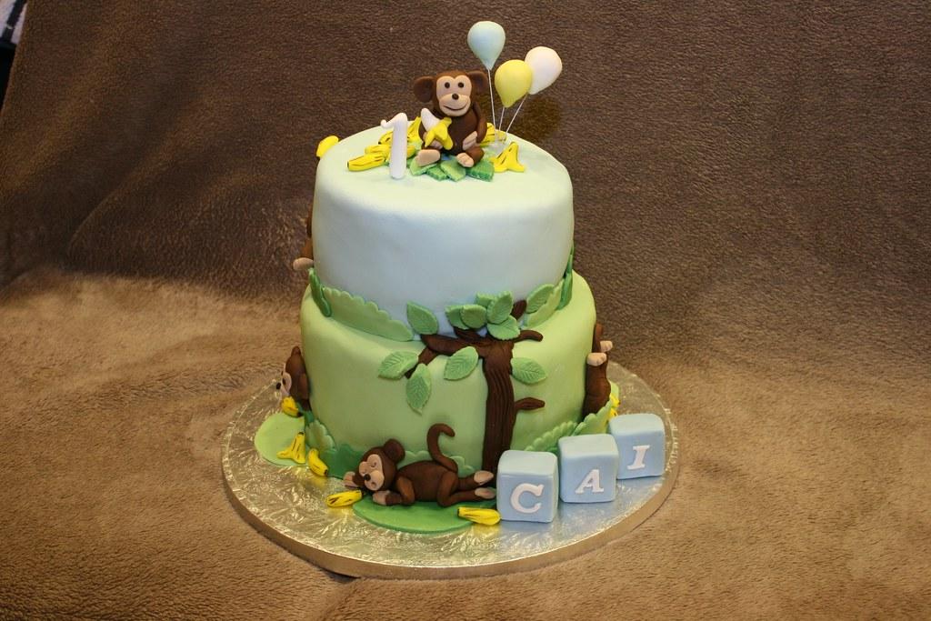 Incredible 1St Birthday Monkey Cake Eldriva Flickr Funny Birthday Cards Online Kookostrdamsfinfo
