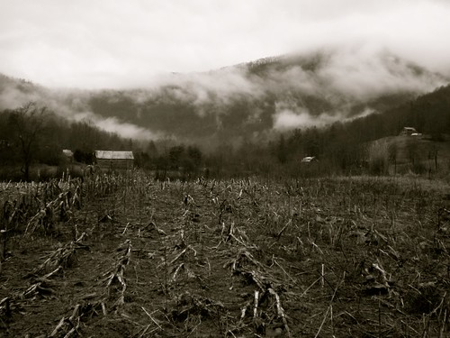 blackandwhite mountains clouds barn northcarolina wnc cornstubble