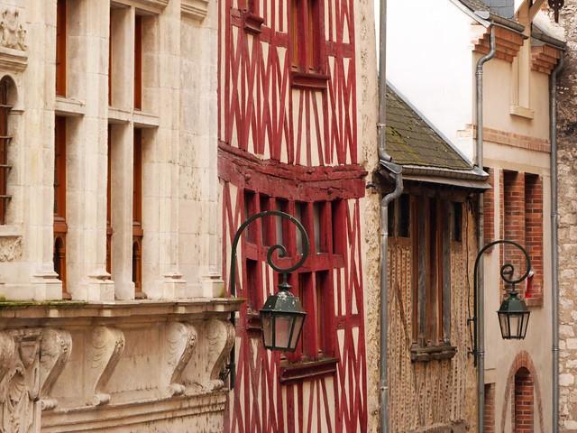Fachadas medievales en el valle del Loira (Francia)