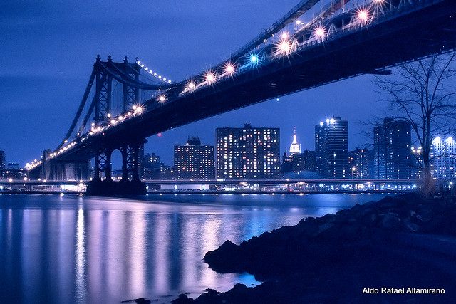 Manhattan Bridge in blue