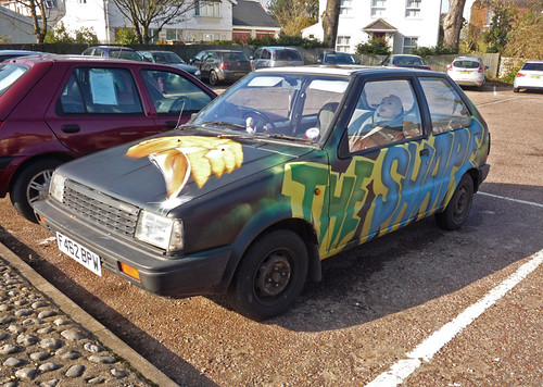 "1989 Nissan Micra 1.0LS (K10) + passenger ""The Shape""   by Spottedlaurel"