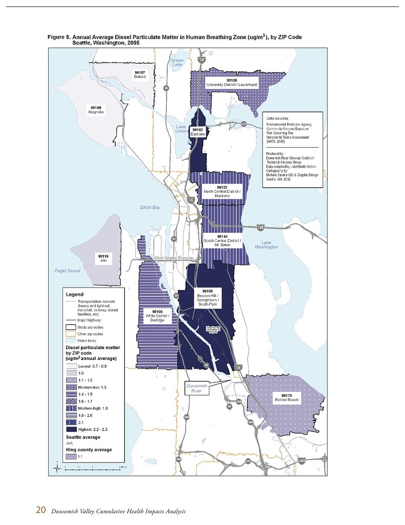 Duwamish diesel particulate map by zip code | Read the full ...