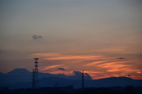 sunset sky cloud silhouette evening power line transmission mtfuji hinoshi