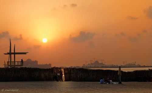 sunset orange canon eos dusk uae abudhabi corniche 600d