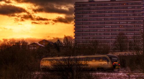 railroad winter sunset yellow train denmark sundown rail railway aarhus mokastet