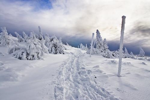 park winter sunset sky sun clouds landscape frozen sony january poland polska trail national freeze 1750 alpha tamron sudety karkonosze a580