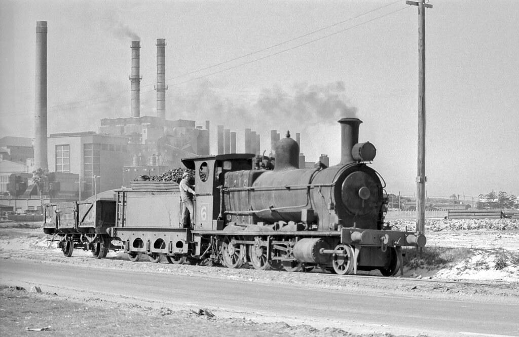 No 6 runs past Bunnerong Power Station, Botany Freight Line, Matraville, NSW, circa 1973.