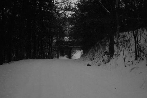 road bridge blackandwhite snow nikon eerie iowa haunted creepy norasprings