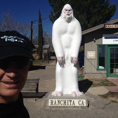 Mission accomplished: greeted officially by Rancheti, the 11 foot yeti of Ranchita. Mile 9.5. #stoked | by Chris Kostman of AdventureCORPS / Badwater