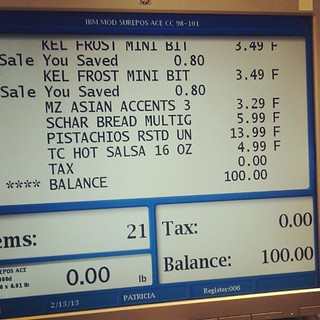 Must be my lucky day! 2/13/2013. The day my grocery bill was exactly $100.00 - and had 21 items. | by arousta