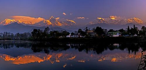 nepal lake mountains reflection sunrise nikon pokhara himalayas himalayan himal opsphotos westernregion d7000 nikon2470mm28