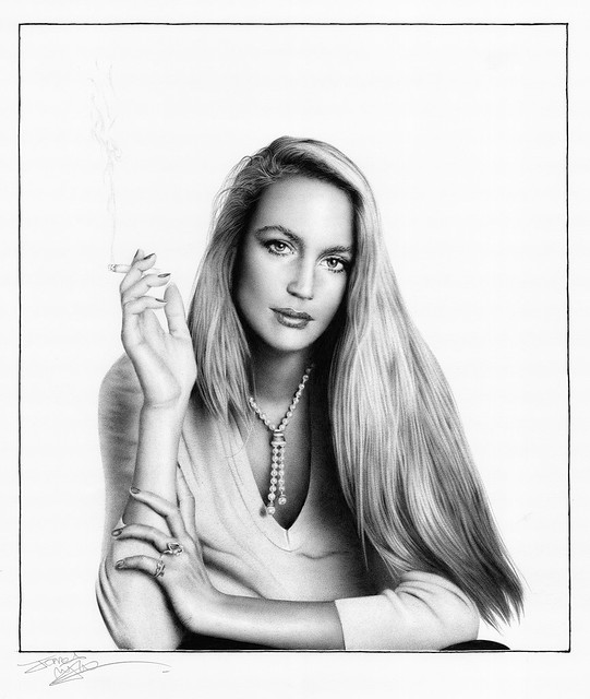 ballpoint drawing of Jerry Hall