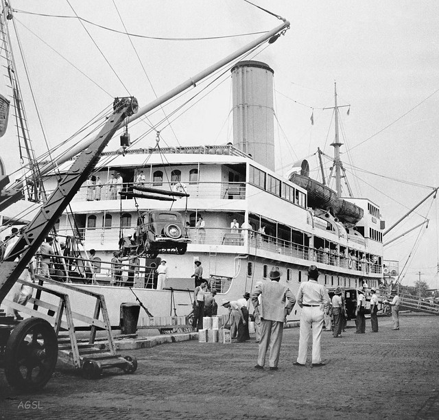 SS Mayon, loading an automobile for a trip to Mindanao and way ports south, Manila, Philippines, August 22, 1933