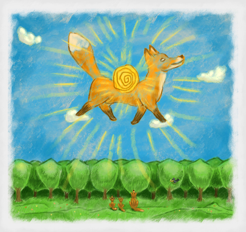 Fairy Tales of foxes. Fox carries the Sun