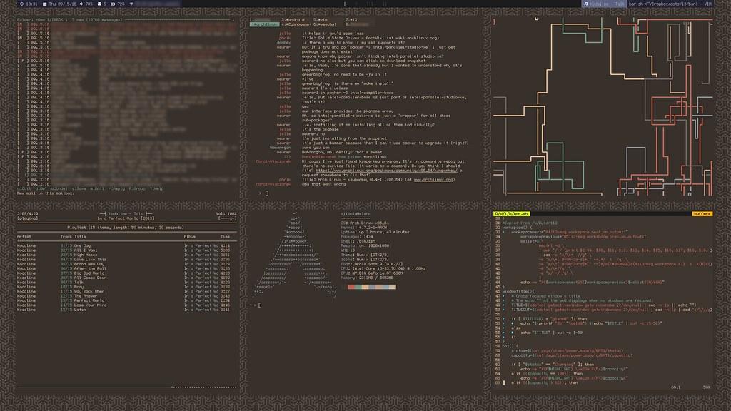 Current desktop look | ArchLinux with i3-gaps and lemonbar