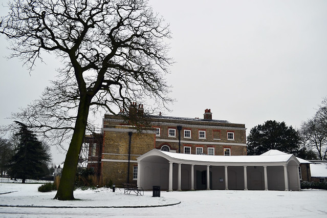 Valentines park mansion in snow