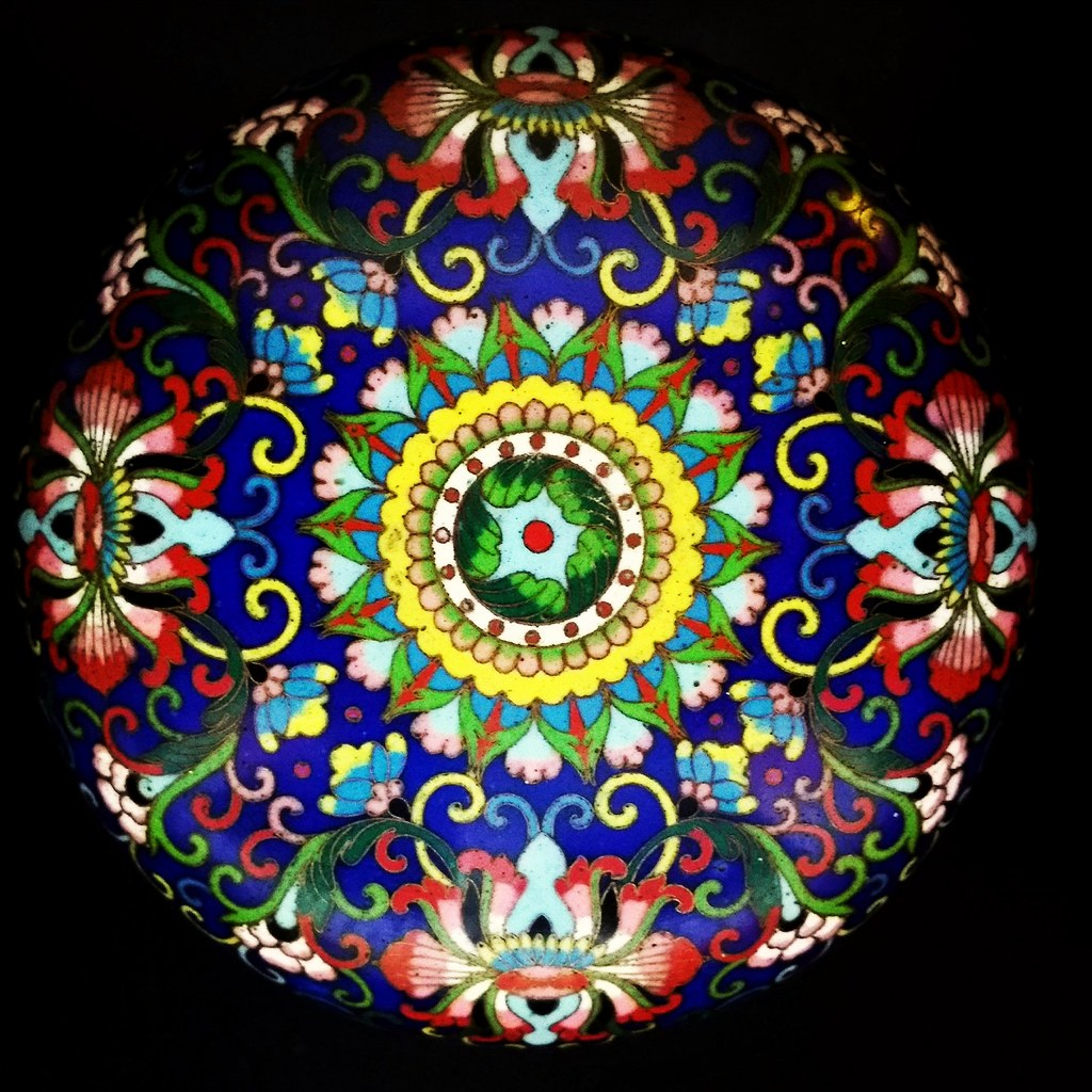 Lid to a cloisonne brass bowl dating to 1895.