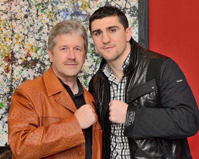 der amtierende Boxweltmeister der WBO Marco Huck und Fred Wenzlaff