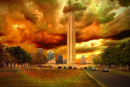 city sunset sky architecture liberty us memorial war style landmark historic mo national missouri egyptian kansas historical nrhp onasill