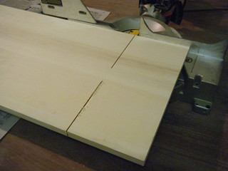 Sawing wood for shelves using miter saw | by Preetha & James