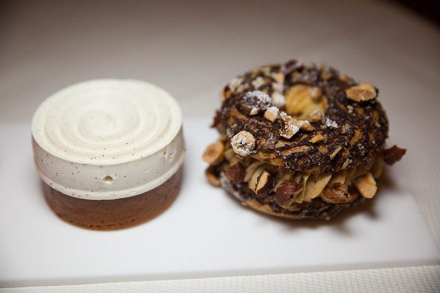 Vanilla tart and peanut chocolate paris brest